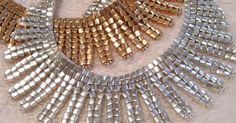 Egyptian Collars in Gold and Silver. Designed and beaded by Sharon A. Kyser http://SharDonExclusives.blogspot.com | benim | Pinterest | Collars and Gold