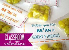 Classroom valentine: Thanks for BE'AN my friend! {via @thecraftblog )