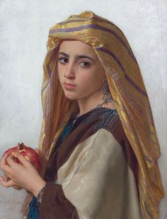 Artist  William-Adolphe Bouguereau (1825–1905) Title   Girl with a pomegranate Date 1875 Medium oil on canvas Dimensions 59.6 × 45.7 cm (23.5 × 18 in)