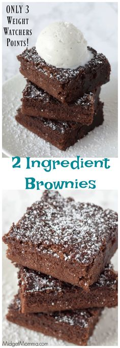simple 2 ingredient brownies are ONLY 3 points each on Weight Watchers! You can totally have dessert and eat great when on Weight Watchers and these soft, chocolaty and moist brownies are always a hit in our house! Weight Watchers Brownies, Weight Watcher Desserts, Weight Watchers Snacks, Weight Watchers Kuchen, Weight Watcher Cookies, Plats Weight Watchers, Weight Watchers Cupcakes, Weight Watchers Salmon, Weight Watchers Motivation