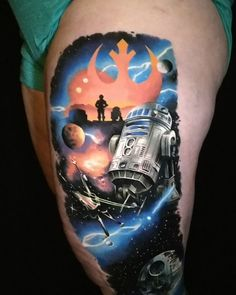 """Amazing Star Wars Tattoo by Saga Anderson (@inkbysaga) on Instagram: """"Rebellion ☰ Added a Star Wars thigh piece to a lower leg cover-up we did in 2015. R2d2 + Death Star…"""""""