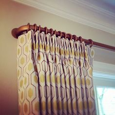 Details: perfect pleating to pattern and nice deep return to the wall
