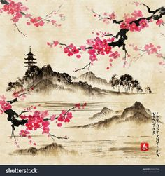 china background china dibujo Landscape with sakura branches lake and hills in traditional japanese sumi-e style on vintage watercolor background. Sakura Painting, Cherry Blossom Painting, Japan Painting, Ink Painting, Cherry Blossoms, Cherry Blossom Vector, Japanese Watercolor, Watercolor Landscape, Watercolor Art