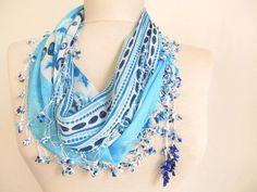 Turkish YEMENI  scarf BLUEAQUA f scarOya Scarf cotton by asuhan, $22.90