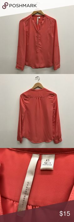 SALE ⚡️ Lauren Conrad Chiffon Salmon Blouse Gently used. No damage. Smoke and dog free home.  Super cute and soft button down blouse.  Golden beads buttons. Lightweight.  ❤️See last picture for FAQ & Information about my closet❤️ LC Lauren Conrad Tops Blouses