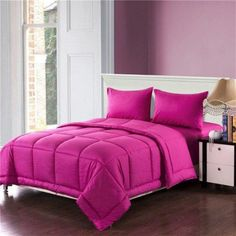 Tache Home Fashion Box Stitched Comforter Set Size: California King, Colour: Pink Hot Pink Bedding, Grey Comforter Sets Queen, Satin Bedding, Ruffle Bedding, King Comforter, Cotton Bedding, Cheap Bed Sheets, Luxury Bedding Sets, Beautiful Bedrooms