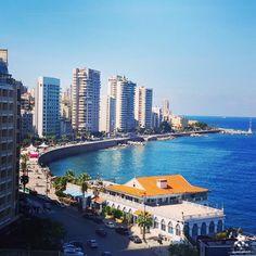 A beautiful view of #Beirut seaside By Jessica Obeid #WeAreLebanon #Lebanon #WeAreLebanon