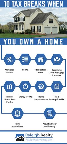 10 Tax Breaks When You Own A Home Infographic - If you're searching for information on tax benefits of owning a home you will want to check out this article! We go over 10 great ways to save money on taxes by using your home to maximize tax deductions!