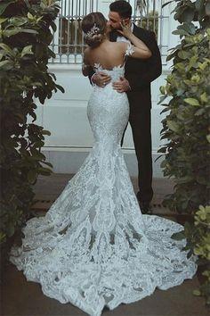 Lace Mermaid Wedding Dress, Sexy Wedding Dresses, Gorgeous Wedding Dress, Mermaid Dresses, Cheap Wedding Dress, Bridal Dresses, Backless Wedding, Fitted Lace Wedding Dress Open Back, Sweetheart Bridal