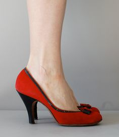 1950s shoes, Red Alert heels. - I love that these are too high and the heel isn't super skinny either!!