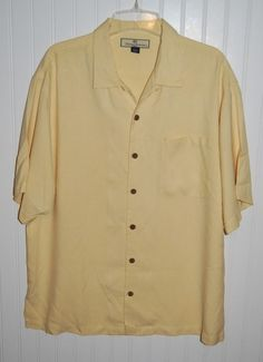 Tommy Bahama Men's Large Silk Button Front Shirt Short Sleeve Yellow #TommyBahama #ButtonFront