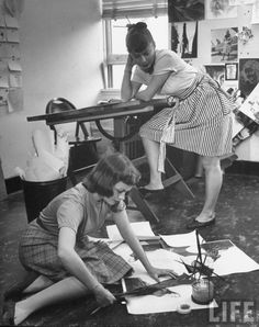 Women putting together a layout for the magazine, Junior Bazaar  by Nina Leen, 1945