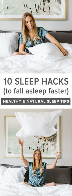 These 10 sleep hacks and tips will have you sleeping better, falling asleep fast and most importantly, staying asleep! They're the perfect healthy and natural fix for insomnia and when you can't sleep. Sleep Better Tips, How To Sleep Faster, How To Get Sleep, Sleep Help, Natural Remedies For Insomnia, Insomnia Cures, Falling Asleep Tips, How To Fall Asleep, How To Stay Asleep