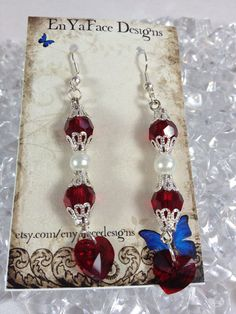 Swarovski Pearl and Crystal Heart 8mm Earrings on Etsy, $15.00