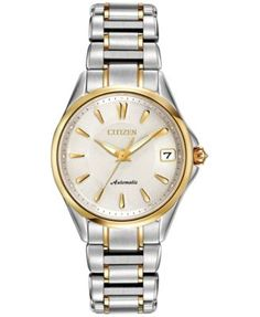 Citizen Women's Automatic Grand Classic Eco-Drive Diamond Accent Two-Tone Stainless Steel Bracelet Watch 33mm PA0004-53A | macys.com