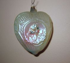 ANTIQUE UNSILVERED LARGE DECO STYLE HEART PASTEL LADIES CHRISTMAS ORNAMENT