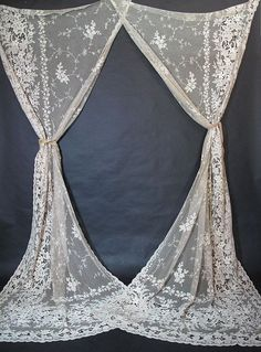 Fabulous Pair Of Nine-Foot Antique Lace Drapery Panels