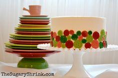 Red Velvet. Cake. Cheesecake. Buttons. Marzipan. Fiesta Ware. Buttercream. Christmas.