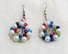 Multi-color pearl crystal beaded flower earrings. by jewlerystar