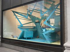 Future Map Storefront Window Installation by StudioXAG at Selfridges