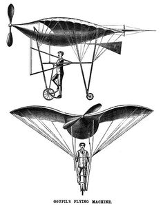 """Alexandre Goupil's Sesquiplane  """"Alexandre Goupil was a well regarded and well known French engineer who designed this bird-like flying machine in 1883. The sesquiplane (a monoplane with additional half-wings) was meant to be powered by a steam engine mounted inside the rounded body of the machine. The engine was to drive a single tractor propeller and it was to have a wheeled landing gear. A rudder was to be mounted below the tail surface."""""""