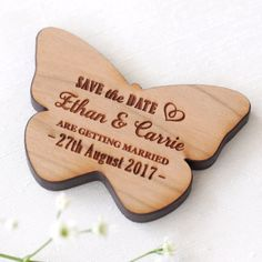Beautifully designed and personalised for your memorable occasion by NIVI Design.  These beautiful wooden magnets are perfect way to remind your guests the special date. Dont let them miss your big day!  Wooden Magnets: 6 mm thick Solid cherry wood.  Dimensions: Dove: 7.4 cm wide & 4.5 cm high Butterfly: 5.7 cm wide & 4 cm high Heart: 5.3 cm wide & 5.4 cm high  Our wooden magnets can be purchase with or without envelopes. Please see drop down menu for prices.  Envelopes: Made from 250 gsm…