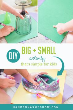 Teach the concept of big and small with this super easy and fun activity to do at home with kids! Get toddlers to compare sizes and work on fine motor tracing too! Preschool Art Projects, Preschool Art Activities, Toddler Art Projects, Outdoor Activities For Kids, Fun Activities To Do, Hands On Activities, Toddler Preschool, Preschool Activities, Big And Small