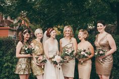 Short pretty mismatched sequined gold bridesmaid dresses