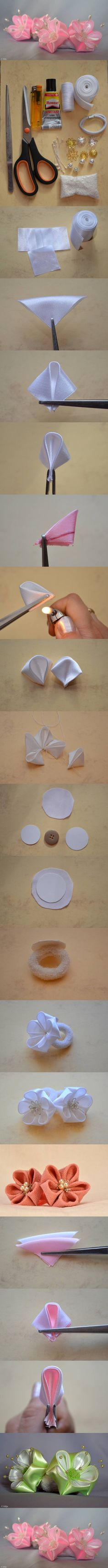DIY Round Petals Ribbon Flower