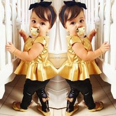 New Summer Sweet Baby Girls Sets T-Shirt+Pants 2017 Streetwear Fashion Short-Sleeve Suit Bowknot Baby Clothes 2 Pieces Suit #Affiliate