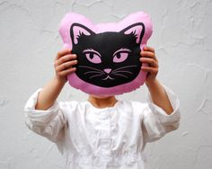 Organic Pink Cat Pillow - Eco-Friendly Baby Toddler Stuffed Pillow Cushion Toy - Modern Kids Home Decor (Ready to Ship). $40.34 Etsy