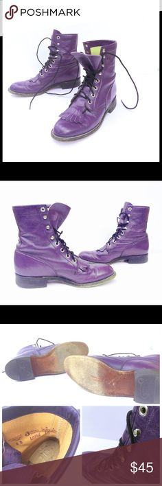 Vintage Combat Boots, Purple Leather Justin 6B Purple leather, marked size 6B on inside. 90s grunge look, made by Justin. Tie up and grommets , low to mid calf  rise - top of boot to ground is roughly 8 inches. Good vintage condition, Black sole on the front of both boots is worn to a lighter color, leather is wrinkled, and sole is worn some (see photos) couple of small scuffs on toes. Fringed steampunk leather thing on the front. I WANT THESE TO FIT ON MY FEET SO BADLY! Justin Shoes Combat…