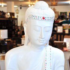 Buddha Thailand Statue weiß verziert stehend 169cm