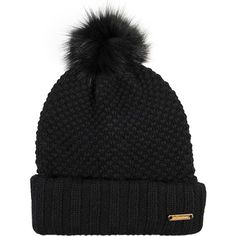 Burberry Fox pompom Knitted beanie ($406) ❤ liked on Polyvore featuring accessories, hats, black, beanie hat, fox beanie hats, pom pom beanie, burberry hat and fox hats