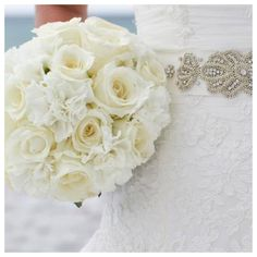 white roses bridal bouquet by Princess Wedding Co Destin florida