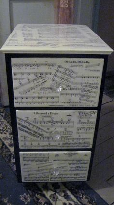 sheet music craft project ideas | sheet music and an old night stand