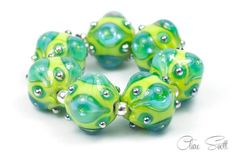 Jewels  Mojito Green  Handcrafted Lampwork by BeadsbyClareScott, $117.00