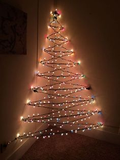 3D Christmas corner tree of lights