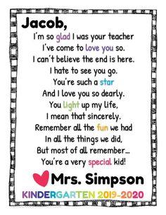 Preschool Graduation Poems, Kindergarten Poems, Preschool Poems, Preschool Letters, Preschool Gifts, Preschool Literacy, Kindergarten Classroom, Literacy Activities, Poems For Students
