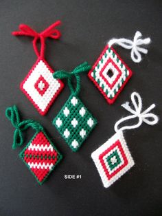Set of Five 5 Plastic Canvas Needlepoint Ornaments Diamond