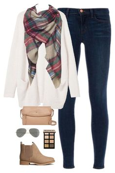"""""""blanket scarf"""" by classically-preppy ❤ liked on Polyvore featuring J Brand, Monki, H&M, Kate Spade, Ray-Ban and Bobbi Brown Cosmetics"""