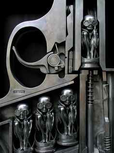 """Birth Machine by H R Giger: http://www.hrgiger.com/newborn.htm / H.R.Giger achieved international fame with his work on Ridley Scott's Alien. In 1980, he received the Academy Award for """"Best Achievement for Visual Effects"""" for his designs of the film's title creature and its otherworldly environment. Died May 13, 2014"""