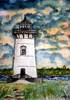Edgarton Lighthouse Art Print - Home and Garden Design Idea's $37.00