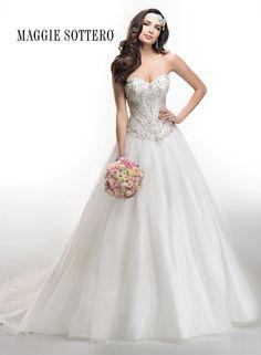 Fairytale ballgown wedding dress by Maggie Sottero, Corbin, with sparkling Swarovski crystals and voluminous princess skirt.