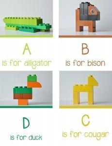 Lego Animal Alphabet A-D - Free Printable - at play learn love