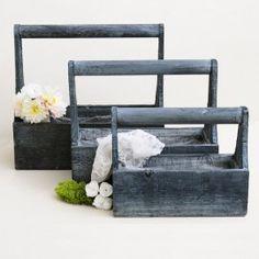 Set 3 Cajas madera vintage con asa