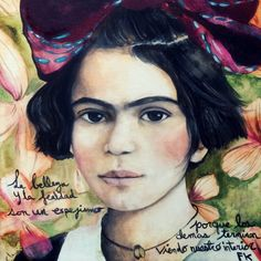 younger Frida Kahlo with words art print by claudiatremblay, $20.00