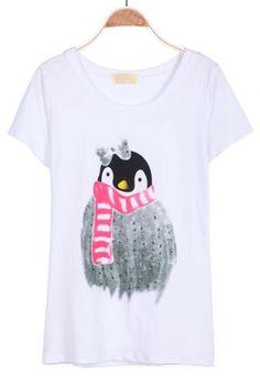 White Short Sleeve Penguin Print T-Shirt #SheInside