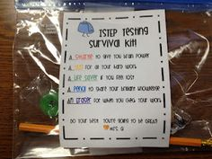 ISTEP Testing Survival Kit... to ease the stress of standardized testing