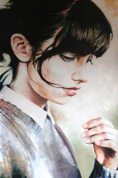 "Saatchi Art Artist Thomas Saliot; Painting, ""A quiet girl"" #art"